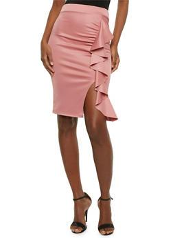 Ruffled Mid Length Pencil Skirt - 1062074012632