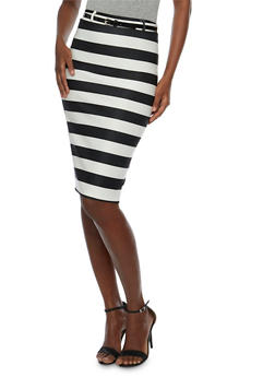 Striped Pencil Skirt with Belt - 1062074012634