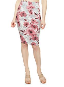 Printed Soft Knit Pencil Skirt - SILVER/MAUVE - 1062074015115