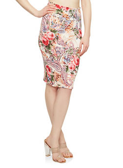 Printed Soft Knit Pencil Skirt - OLIVE/BLUE - 1062074015115