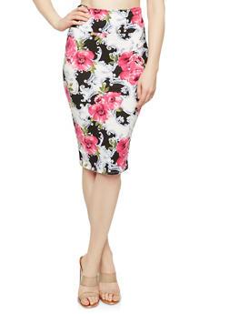 Printed Soft Knit Pencil Skirt - FUCHSIA/GREY - 1062074015115