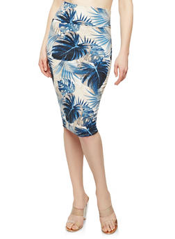 Printed Soft Knit Pencil Skirt - TAUPE/NAVY - 1062074015115