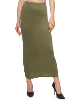 Solid Soft Knit Maxi Skirt - LT OLIVE - 1062074016262
