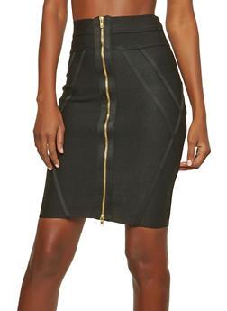 Black Zip Up Bandage Skirt - 1062074016797