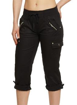 Cargo Capri Pants with Drawstring Waist - 1066038348201