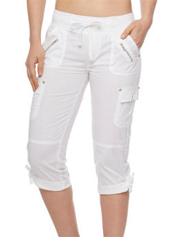 Cargo Capri Pants with Drawstring Waist - WHITE - 1066038348201