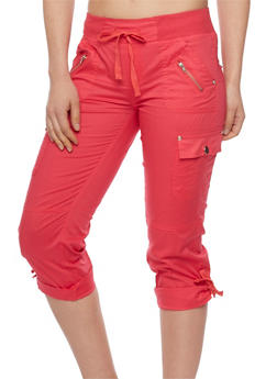 Cargo Capri Pants with Drawstring Waist - 1066038348201