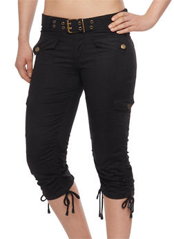 Belted Cargo Capri Pants with Rouched Tie Legs - 1066038348204