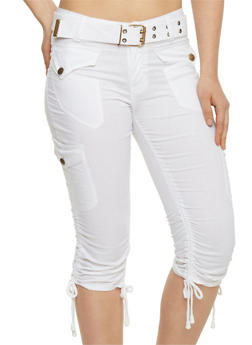 Belted Cargo Capri Pants with Rouched Tie Legs - WHITE - 1066038348204