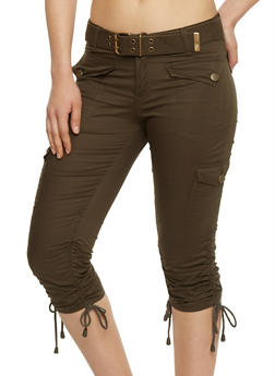 Belted Cargo Capri Pants with Rouched Tie Legs - OLIVE - 1066038348204