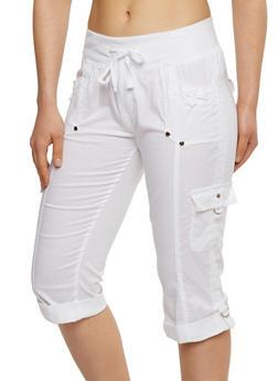 Solid Cargo Capri Pants - WHITE - 1066038348206