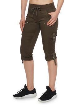 Solid Cargo Capri Pants - OLIVE - 1066038348206