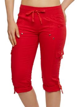 Solid Cargo Capri Pants - 1066038348206