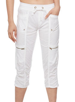 Cargo Capri Pants with Drawstring Waist - WHITE - 1066038348214