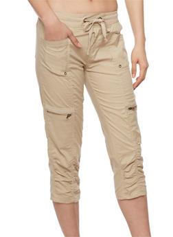 Cargo Capri Pants with Drawstring Waist - 1066038348214