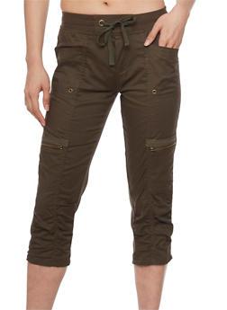 Cargo Capri Pants with Drawstring Waist - OLIVE - 1066038348214