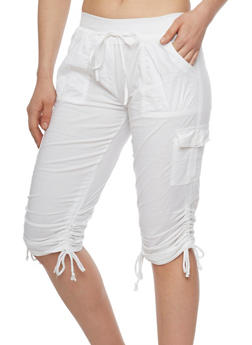 Cargo Capri Pants with Tied Ruched Legs - WHITE - 1066038348215