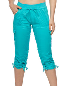 Cargo Capri Pants with Tied Ruched Legs - 1066038348215
