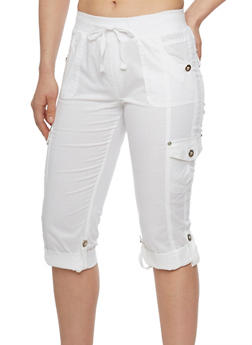 Tabbed Rolled Cuff Cargo Capri Pants with Drawstring Waist - WHITE - 1066038348219