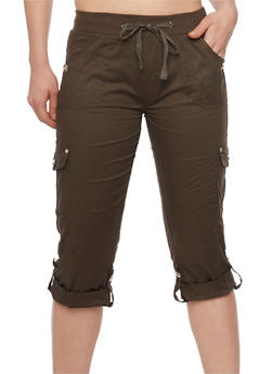 Tabbed Rolled Cuff Cargo Capri Pants with Drawstring Waist - OLIVE - 1066038348219