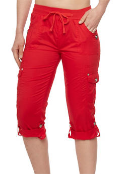 Tabbed Rolled Cuff Cargo Capri Pants with Drawstring Waist - 1066038348219