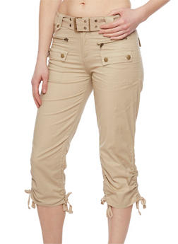Belted Cargo Pants with Cinched Sides - 1066038348220