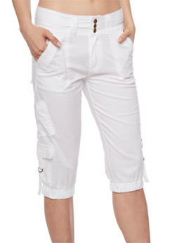 3 Button Capri Cargo Pants with Tabbed Pockets - WHITE - 1066038348222