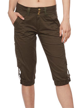 3 Button Capri Cargo Pants with Tabbed Pockets - OLIVE - 1066038348222