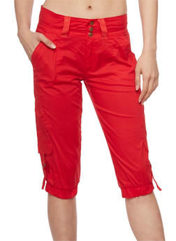 3 Button Capri Cargo Pants with Tabbed Pockets - 1066038348222