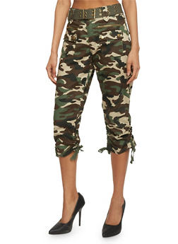 Belted Camouflage Capris with Ruched Tie Legs - 1066038348229