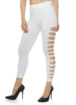 Solid Lasercut Capri Leggings - 1066062906520