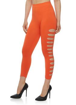 Solid Lasercut Capri Leggings - 1066062906520