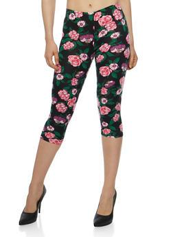 Floral Print Capri Leggings - 1066062906711