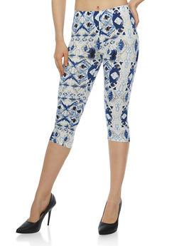 Tie Dye Print Capri Leggings - 1066062907120