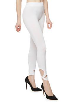 Twist Cut Out Capri Legging - WHITE - 1067001441286