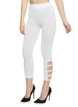 Lattice Cutout Leggings - WHITE - 1067001441295