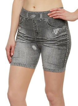 Denim Print Bike Shorts - 1068041451051