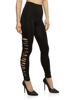 Solid Leggings with Caged Sides - 1069001441282