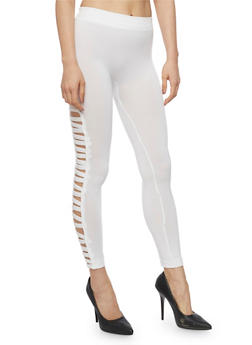 Solid Leggings with Caged Sides - WHITE - 1069001441282