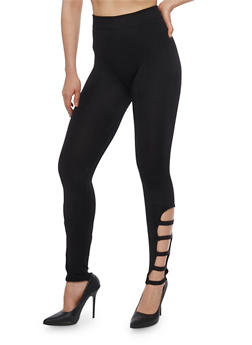 Solid Leggings with Caged Detail - 1069001441283