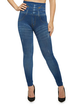 High Waisted Leggings with Leopard Print Patch - 1069059160280