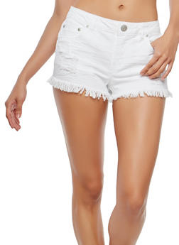 Almost Famous Frayed Denim Shorts - 1070015990592