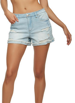 Almost Famous Distressed Roll Cuff Denim Shorts - 1070015992131