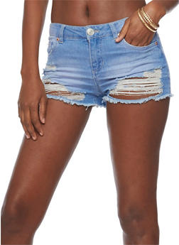 Almost Famous Destroyed Denim Shorts - 1070015993014
