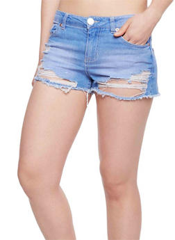 Almost Famous Destroyed Denim Shorts - BLUEBERRY - 1070015993014