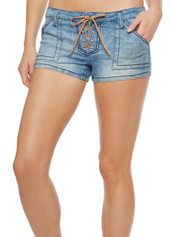 Almost Famous Lace Up Jean Shorts - 1070015994012