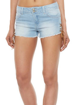 Almost Famous Frayed Jean Shorts with Lace Up Sides - 1070015994194