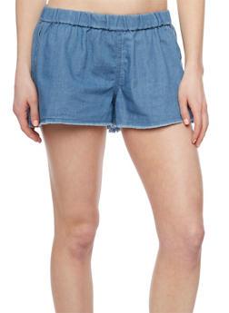 Lightly Frayed Denim Shorts - MEDIUM WASH - 1070051061583
