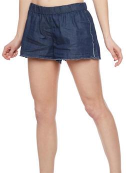 Lightly Frayed Denim Shorts - 1070051061583