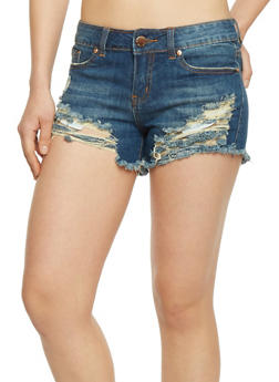 Destroyed Denim Cut Off Shorts - DARK WASH - 1070065309878